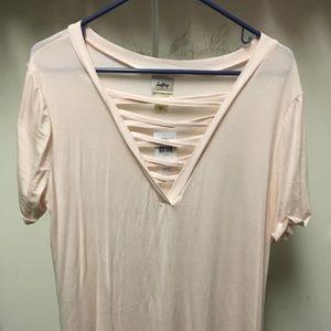 Pale Pink V-Neck Lattice Short Sleeve Shirt NWT